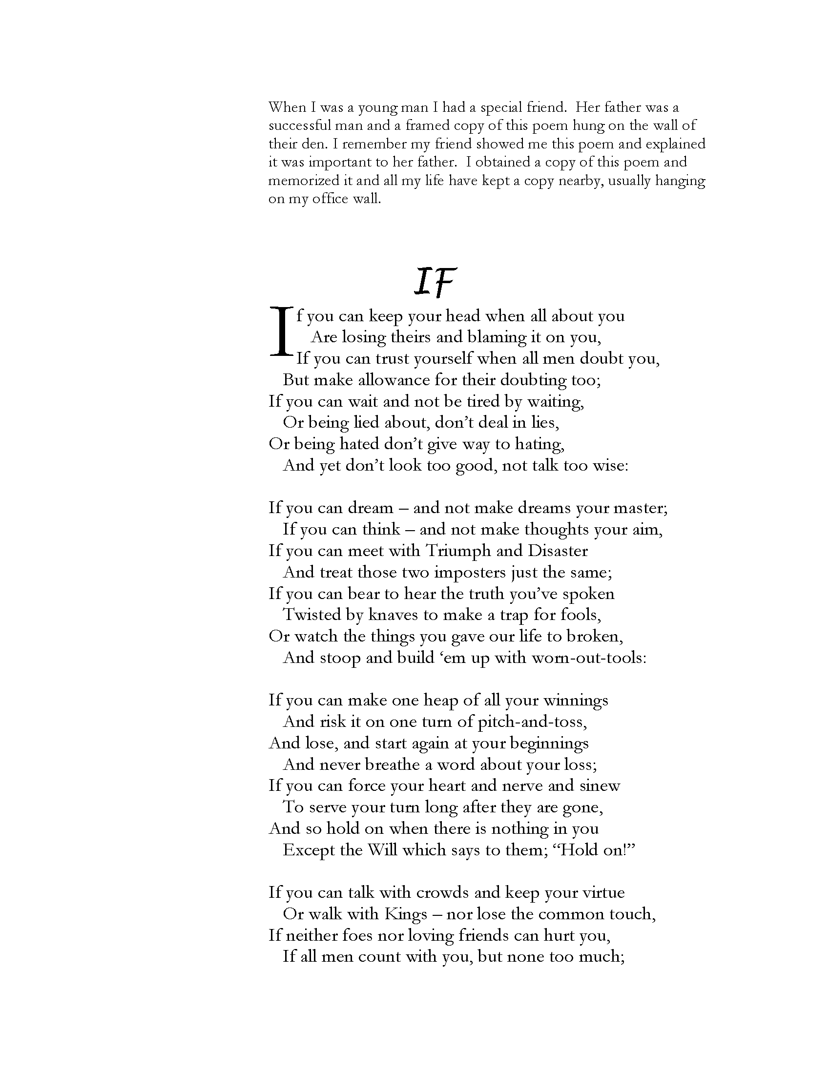Poem about IF